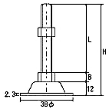 Adjusting Bolt Long Type, Stainless Steel/Without Rubber