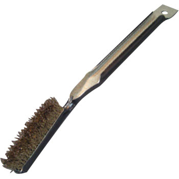 Gold handle brush with thick bristles