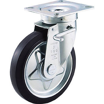 Press Caster Rubber Wheel, Brake