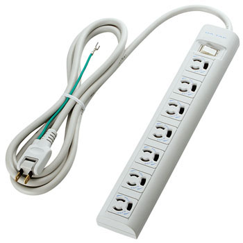 Retaining Magnet Lightning Surge Power Strip, Ground Cord, 2P Plug