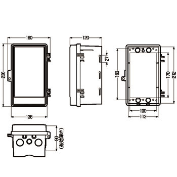 Wall Box, No Roof, Vertical Type