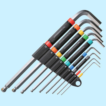Speed handle ball point hex key wrench set, 9 pcs.