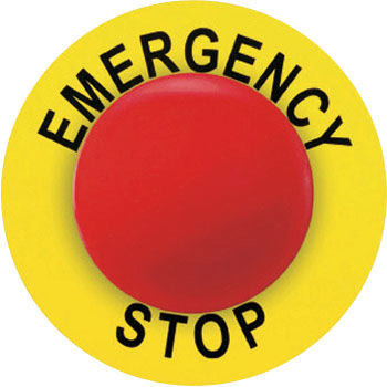 Emergency stop button for the label