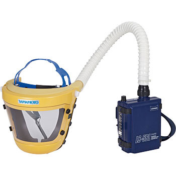 Head gear type electric fan with respiratory protective equipment LS-455