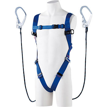 Full harness safety belt bifurcated G blade with lanyard