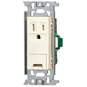 Grounded Outlet With A Ground Terminal Embedded, Flat Type