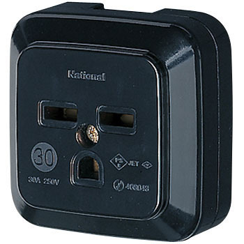 Grounded Outlet Square 2P30A, Thin, Black