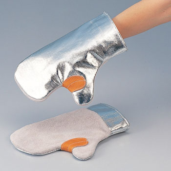 Heat Resistant Gloves,Aluminum/Leather