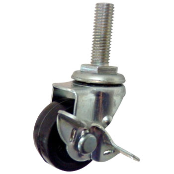 Screw Type Caster, Rubber, Swivel Caster, with Brake