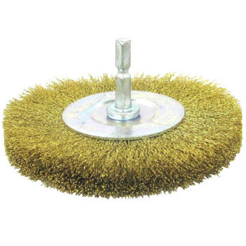 Hex Shaft Wheel Brush Brass Wire