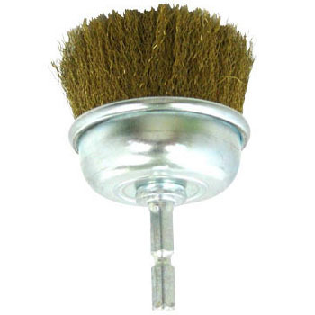 Hex Shank Cup Brush Brass Wire