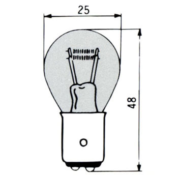 Color Bulb, S25/BAY15d 12V