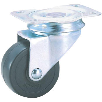 Swivel Caster, Rubber, Plate