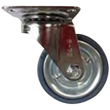 Swivel Caster, Gray Rubber, Plate