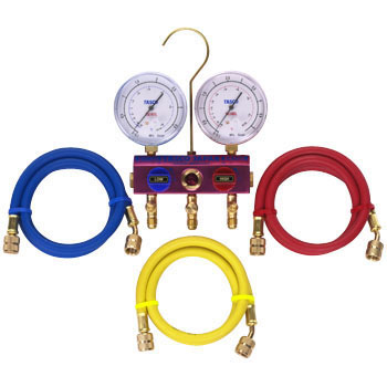 R410A Ball Valve Type Gauge Manifold Kit 80phi Gauge