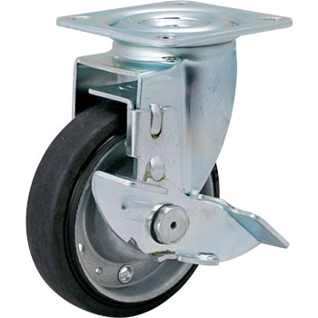 413 2S Swivel Caster, Iron Sheet Wheel, Rubbered Wheel, with Brake