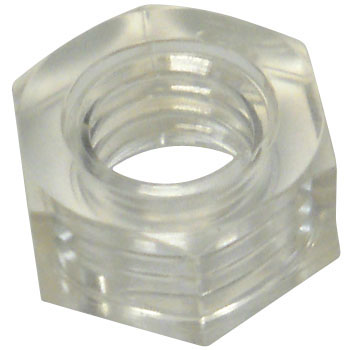 Hex Nut Class 1, Transparent Polycarbonate,