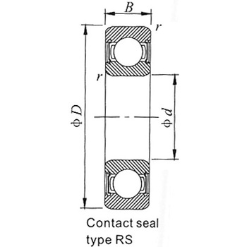 Ball Bearing 6800 Series 2RZ, On Both Side, Non Contact Rubber Seal Type