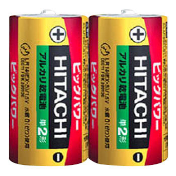 HITACHI Alkaline Dry Cell Battery, Size C