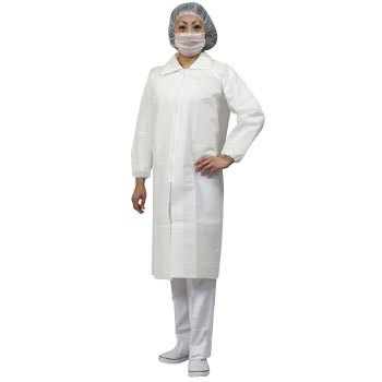 AZ CLEAN White Robe, Mask, Cap 3-Piece Set, Front Fastener