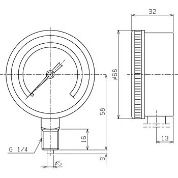 Ф60 simple drip-proof type vacuum gauge