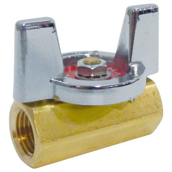 Ball Valve Made of Brass, Butterfly Handle, Reduced Bore