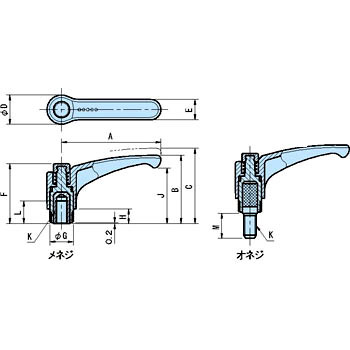 EAL ergo adjustment clamp lever (male screw)