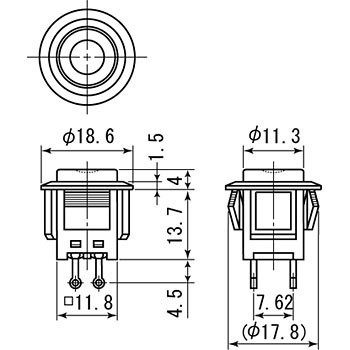 Push Button Switch Self Lock, LED, DS-664 Series