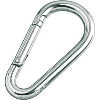 Carabiner D Shaped, Stainless Steel, No Ring