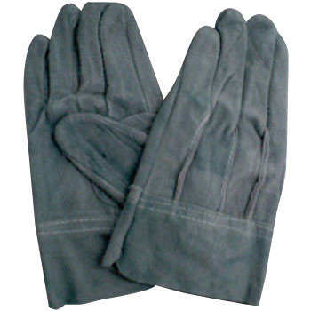 Cow Split Leather Gloves, Back Threaded, Oil Processing