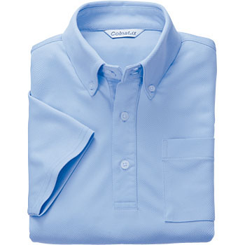 short-sleeved deodorant button-down knit shirt absorbing and drying perspiration well with a pocket