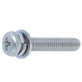 Phillips Pan Head Screw, P=4, SW Plus JIS Small Washer Build In, Stainless Steel, Pack Product