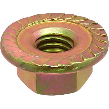 Flange Nut, Serrated, Iron, Chromate, Small Box