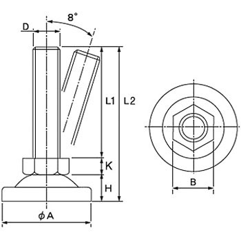 Adjusting bolt for heavy load (dome type) (iron / UNIQLO)