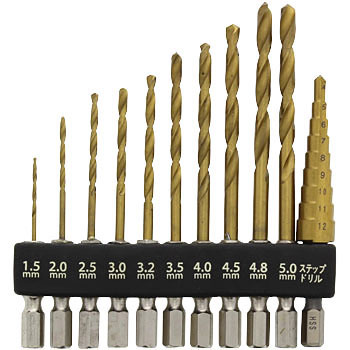 11P Hex Shank Titanium Coated Drill and Step Bit