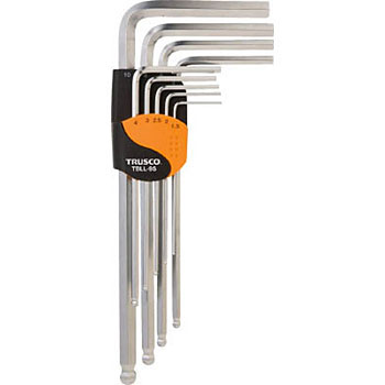 Ball point hex key wrench set,long neck type,9 pcs.