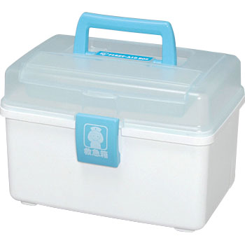 Medical First Aid Kit Box QB-180, Clear Blue and White