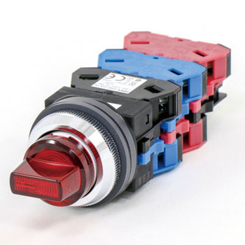 phi30 series ASLN shaped LED illuminated selector switch 45 degree 3 notch 2a-2b