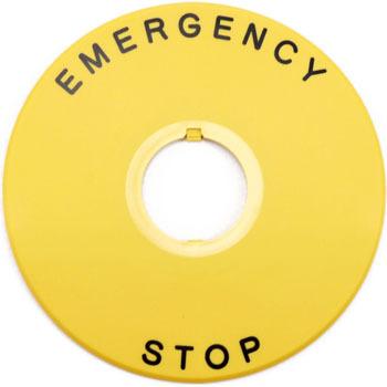 Emergency Stop Push Button Switch, Large Button Name Plate