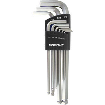 Ball point hex key wrench set,long type,fractional