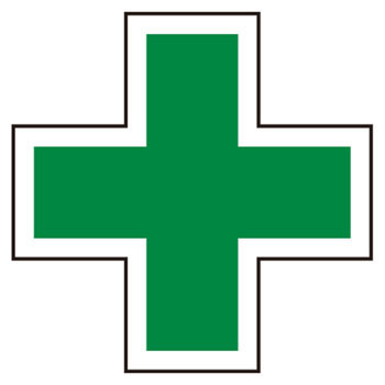Non-reflective green cross seal