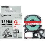 Tepra PRO tape strong adhesive label (red letters on white)