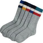 Wool Mixed Thick Crochet Long Socks, Round Tip