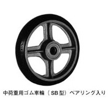 Rubber wheel for medium load (SB type) Bearing included