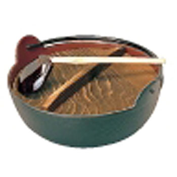 Five-rice paddy pot (iron inner tea enameled finish) (with ladle)