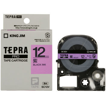 Label Cartridge, TEPRA PRO Tape Strong Adhesive Label Pastel Color, Purple Label Black Character
