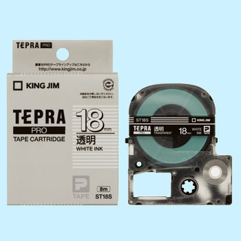 Tepra Pro Tape Transparent Label, Transparently White Character,