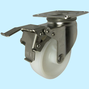 Stainless Steel 315E Swivel Caster, Nylon Solid Wheel, With A Stopper
