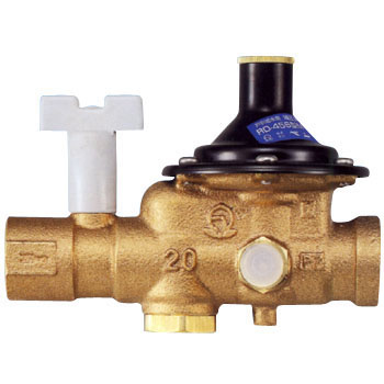 Pressure-reducing valve for household supply water (with stopcock) (for water and hot water)