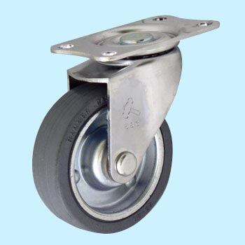 420E Swivel Caster, Iron Plated Wheel Rubber Wrapped Wheel